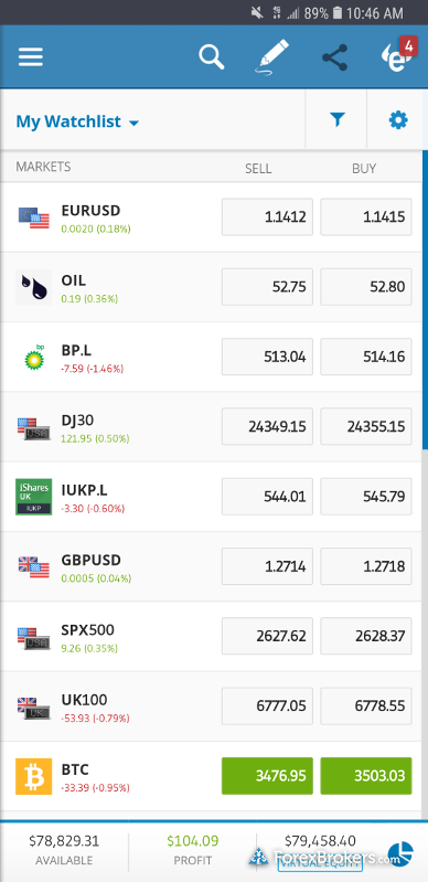 eToro mobile watchlist