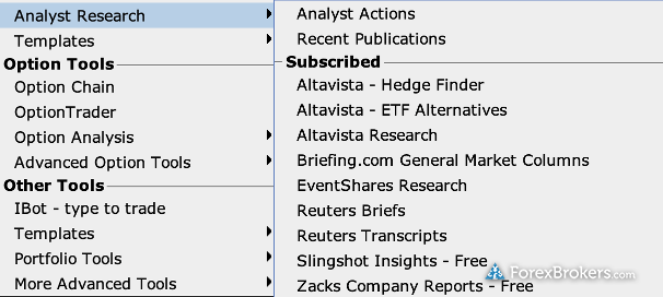 Interactive Brokers desktop research options