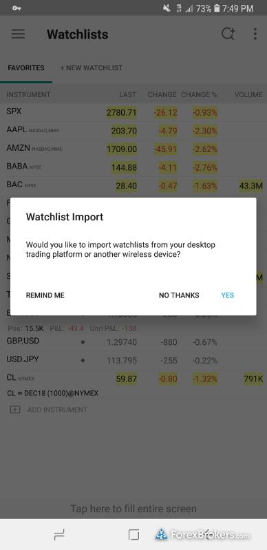 Interactive Brokers mobile app watchlist import