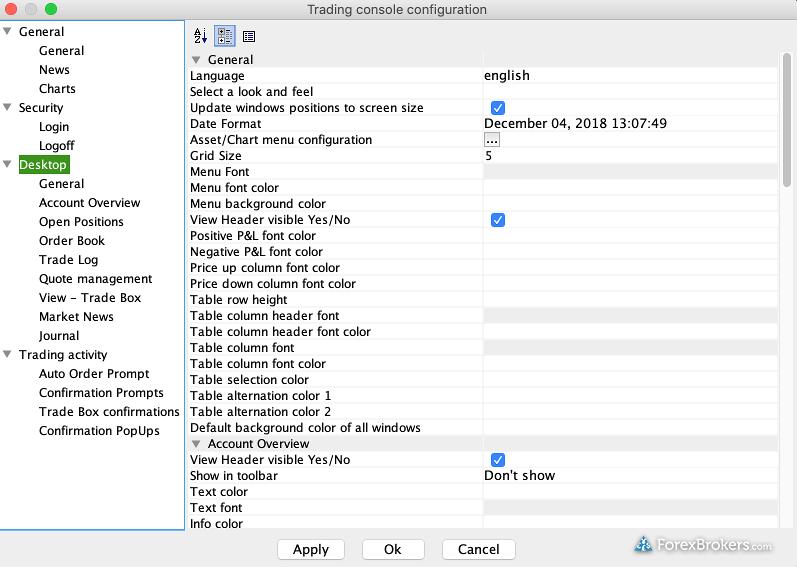 Swissquote Advanced Trader Desktop settings
