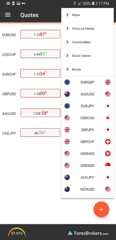 Swissquote Advanced Trader mobile watchlist