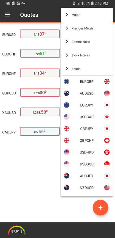 Swissquote Mobile App Quote Screen