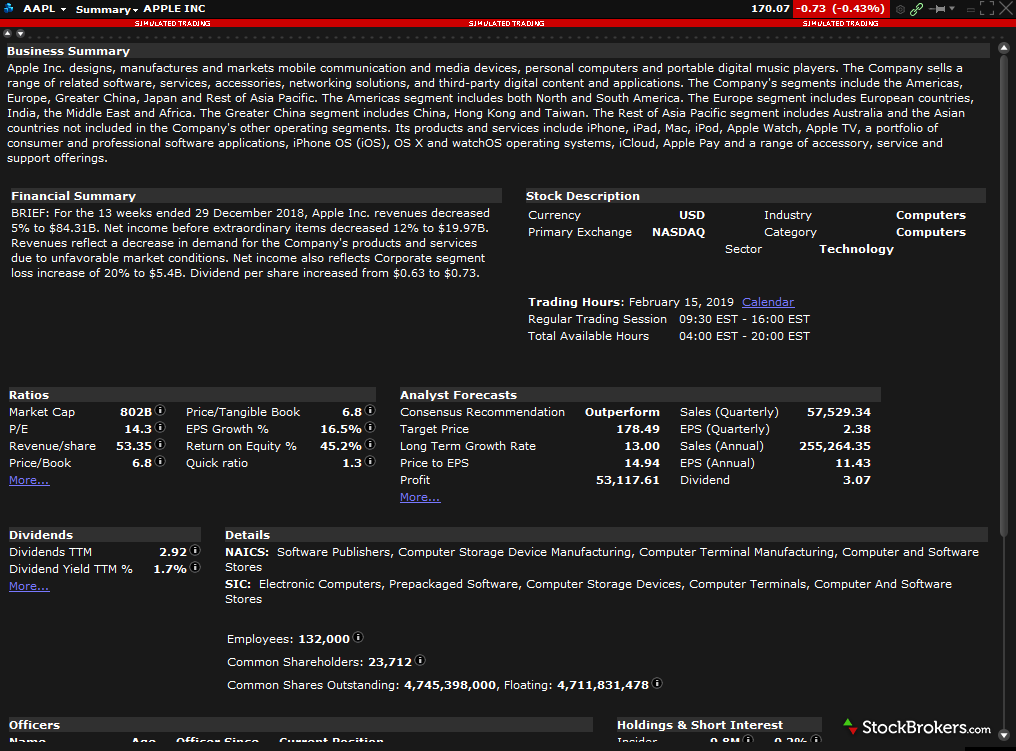 Interactive Brokers TWS research company overview tool