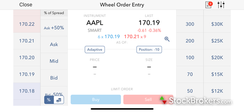 Interactive Brokers IBKR mobile Order Wheel