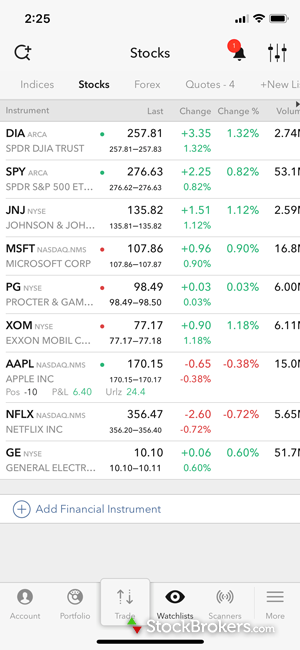 Interactive Brokers mobile watch list