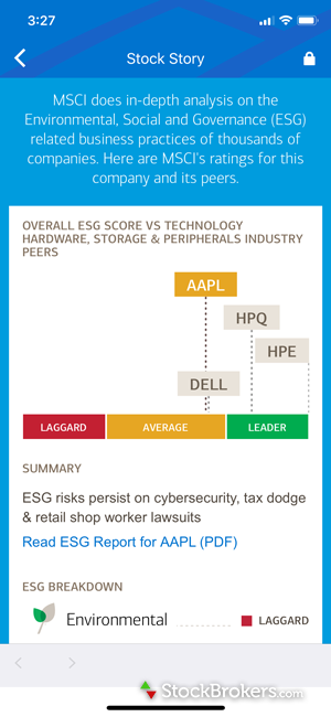 Merrill Edge mobile Stock Story Environmental Social Governance (ESG) scores