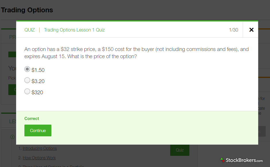 TD Ameritrade education learning center quiz