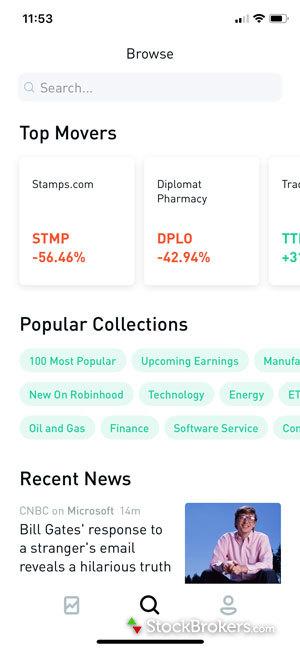 Robinhood mobile app stocks top movers