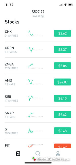 Robinhood mobile app stock portfolio holdings