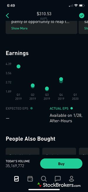 obinhood mobile app stocks earnings analysis