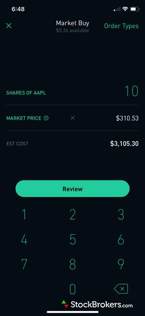 Robinhood mobile app stock trade ticket
