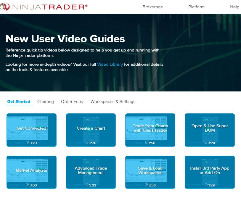 NinjaTrader new user video guides