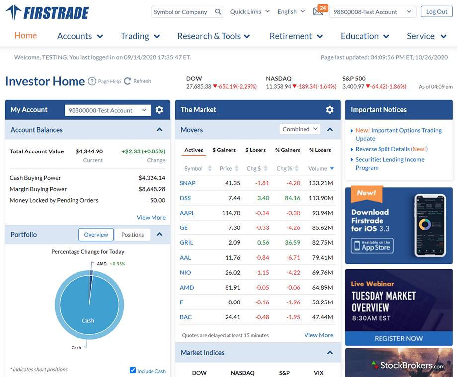 Firstrade client dashboard