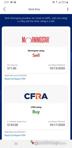 Merrill Edge mobile Fund Story Morningstar rating
