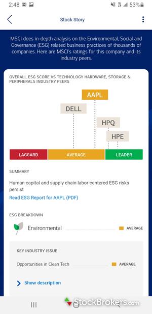 Merrill Edge mobile Stock Story Environmental Social Governance (ESG) scores
