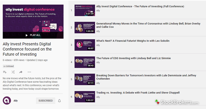 Ally Invest educational videos YouTube playlist
