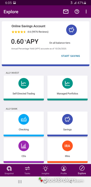 Ally Invest mobile dashboard