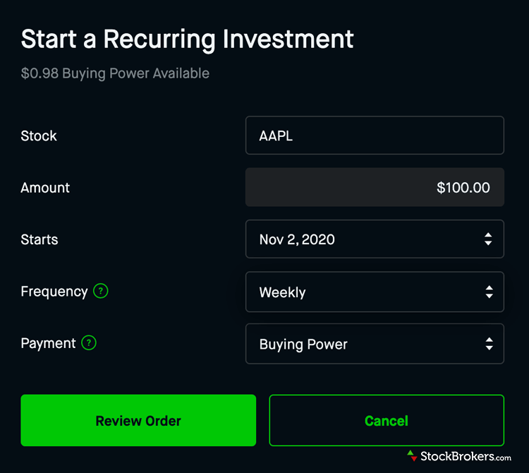 Robinhood website recurring stock investment