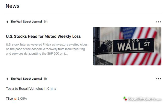 Robinhood website stock market news