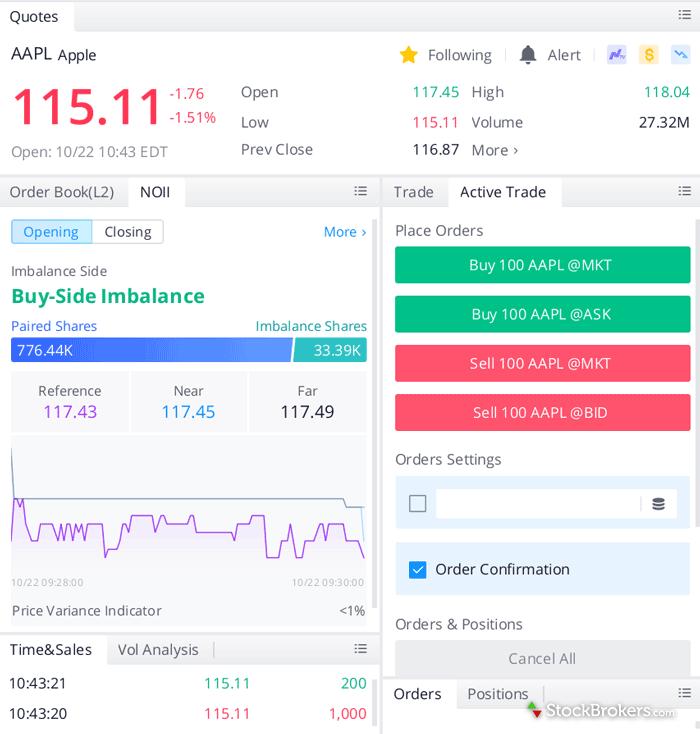 Webull desktop platform trade ticket