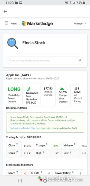 TD Ameritrade mobile stock ratings MarketEdge