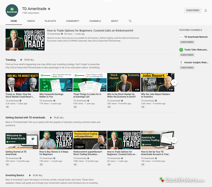 TD Ameritrade educational videos YouTube channel