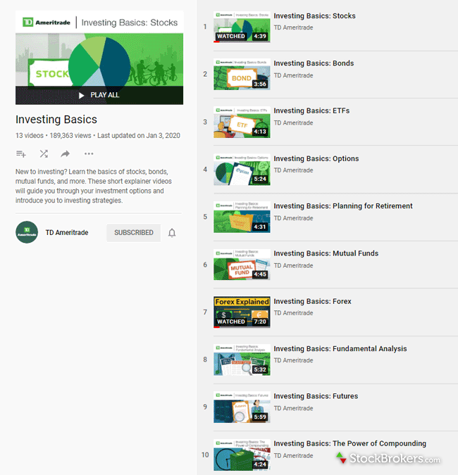 TD Ameritrade educational videos YouTube channel playlist