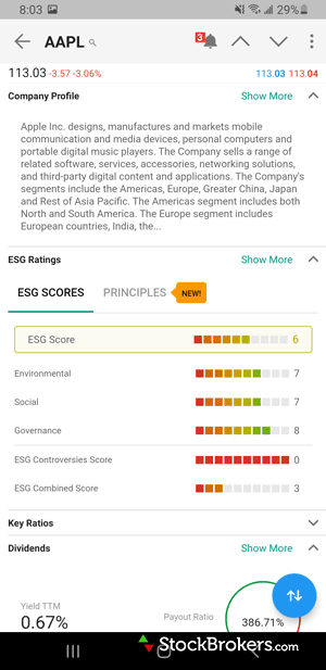 Interactive Brokers IBKR mobile stock profile ESG rating