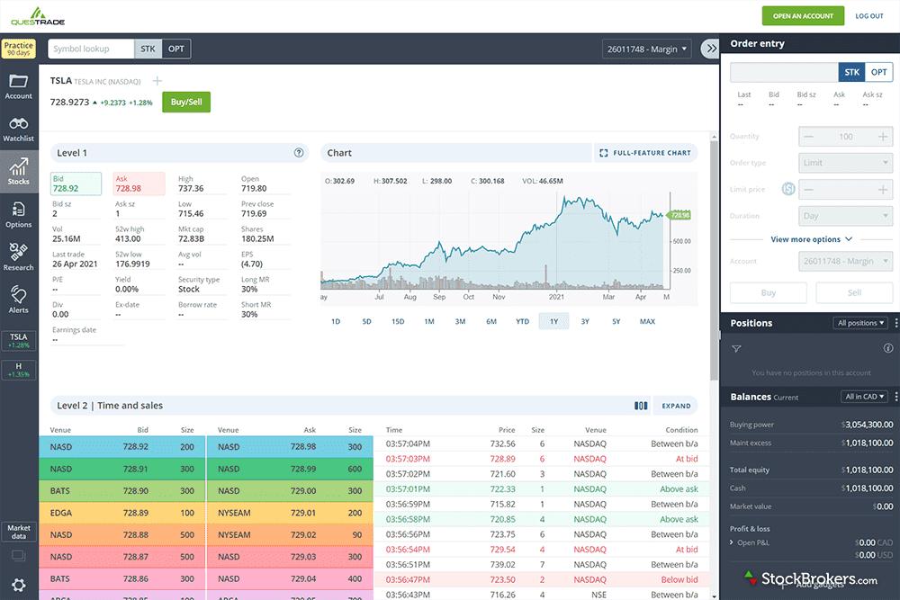 Questrade IQ Web platform stock trading