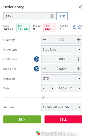 Questrade mobile app Android Play Store order entry window