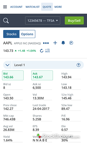 Questrade mobile app Android Play Store order stock fundamentals